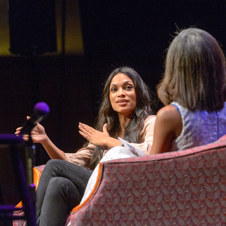 Rosario Dawson, actor, is interviewed by UConn student
